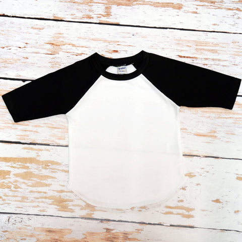 Blank Black and White Raglan Jersey Shirt 3/4 Sleeve Length | Boys, Girls