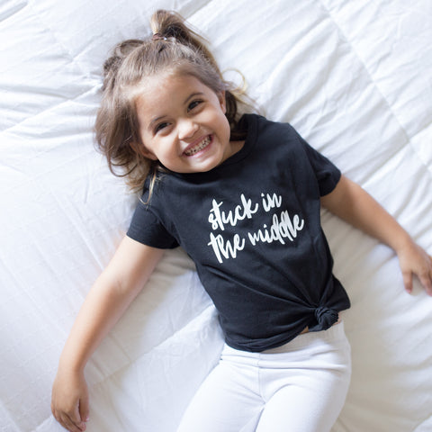 Stuck In The Middle Sibling Shirt, Girl's or Boy's Unisex Sibling Shirt, Pregnancy Announcment Single Shirt 454