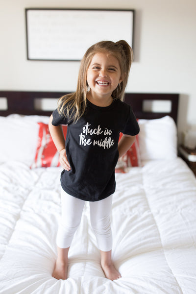 Stuck In The Middle | Black Short Sleeve Shirt | Sibling, Boys, Girls, Pregnancy Announcement | 454