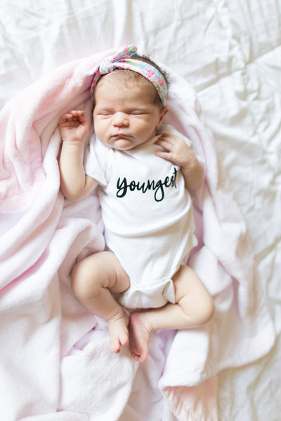 Youngest Sibling Shirt or Bodysuit, Girl's or Boy's Unisex Sibling Shirt, Pregnancy Announcement Single Onesie 454