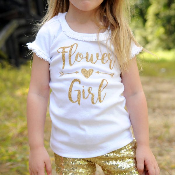 Flower Girl with Arrows and Heart | White Short Sleeve Ruffle Shirt | Wedding, Girls | 456