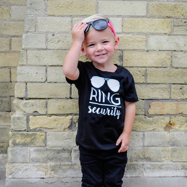 Ring Security with Sunglasses | Black Short Sleeve Shirt | Boys, Wedding | 380