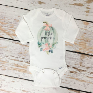 Little Pumpkin Floral | Short or Long Sleeve Onesie | Pregnancy Announcement, Girls | 549