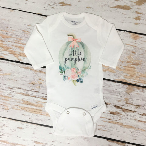 Little Pumpkin Floral Pink Onesie, Girl Fall Baby Shower Gift, Pregnancy Announcement, Baby Clothes 549