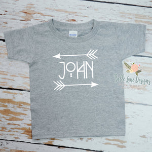 Boy's Name with Arrows Tribal Design, Grey Short Sleeve Tshirt with White Font 050