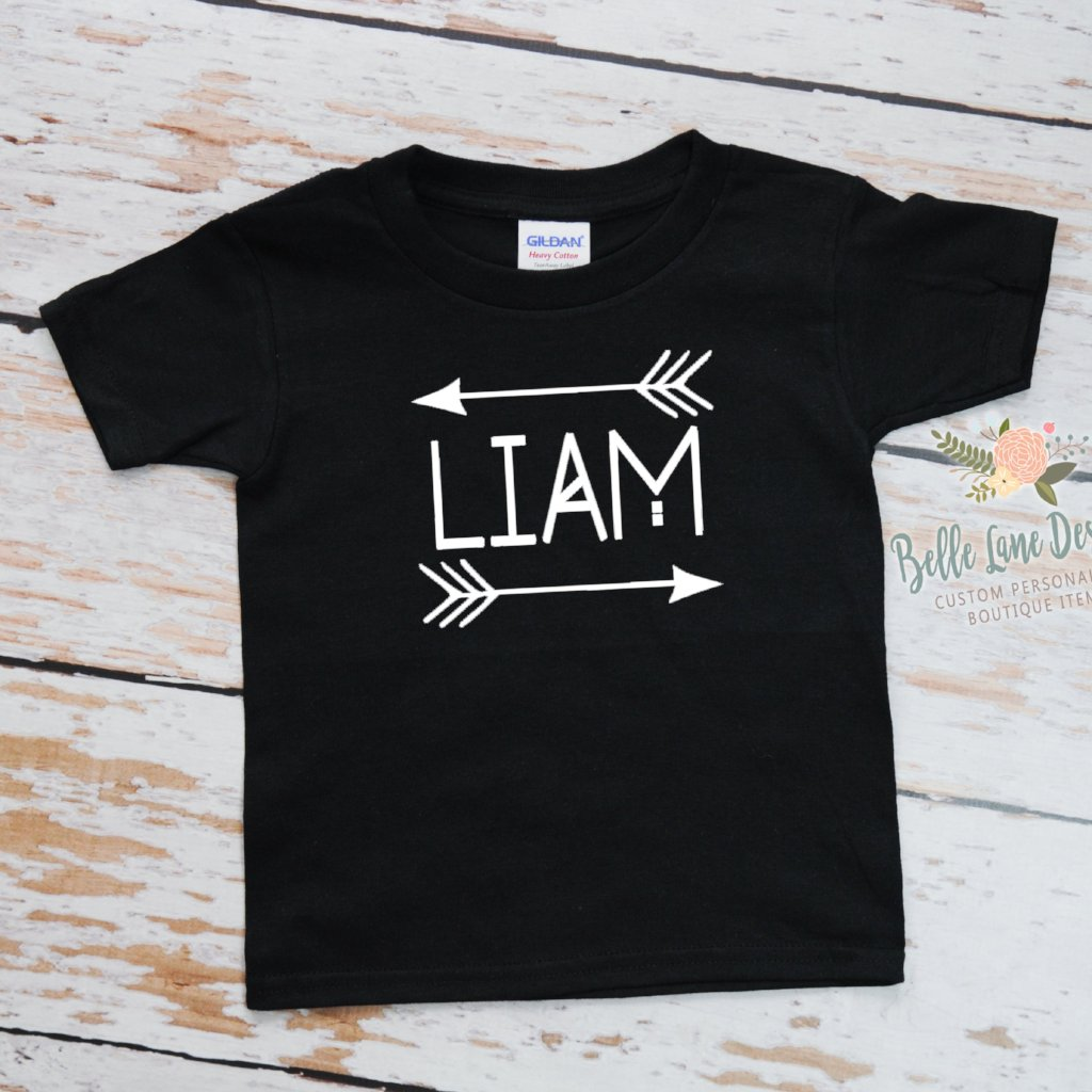 Boy's Name with Arrows Tribal Design, Black Short Sleeve Tshirt with White Font 050
