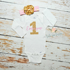 Girl's First Birthday Gold Glitter One with Name, Personalized First Birthday Onesie 006