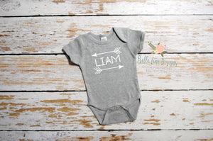 Name with Arrows Tribal Design | Short Sleeve Grey Onesie | Boys | 004