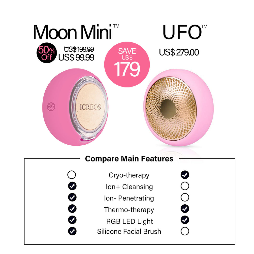 50Off-iCreos_Moon_Mini-Price-VS-Foreo_UFO-I