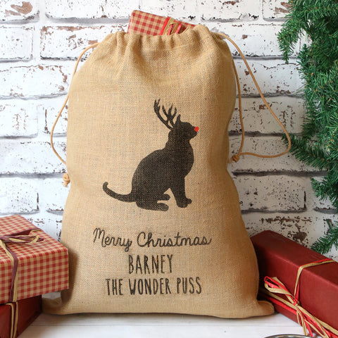 Personalised Christmas Cat Sack