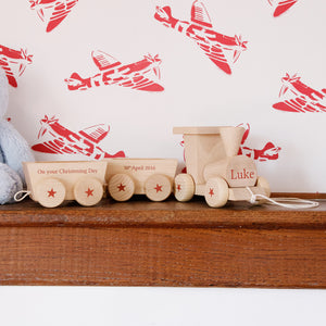Personalised Wooden Train And Carriage