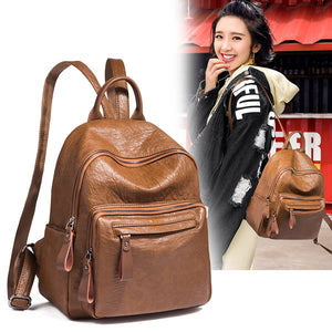 Brand shoulder bag female Korean wave 2018 new wild soft leather leather backpack bag fashion casual travel bag