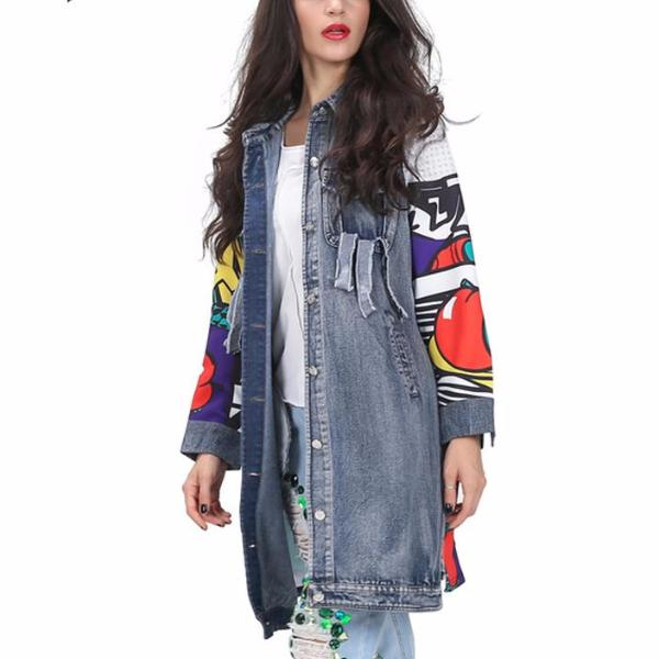 Graffiti Long Denim Jacket
