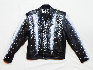 Hand-Painted Antelope Moto Jacket With Faux Fur Coyote Tail Fringe