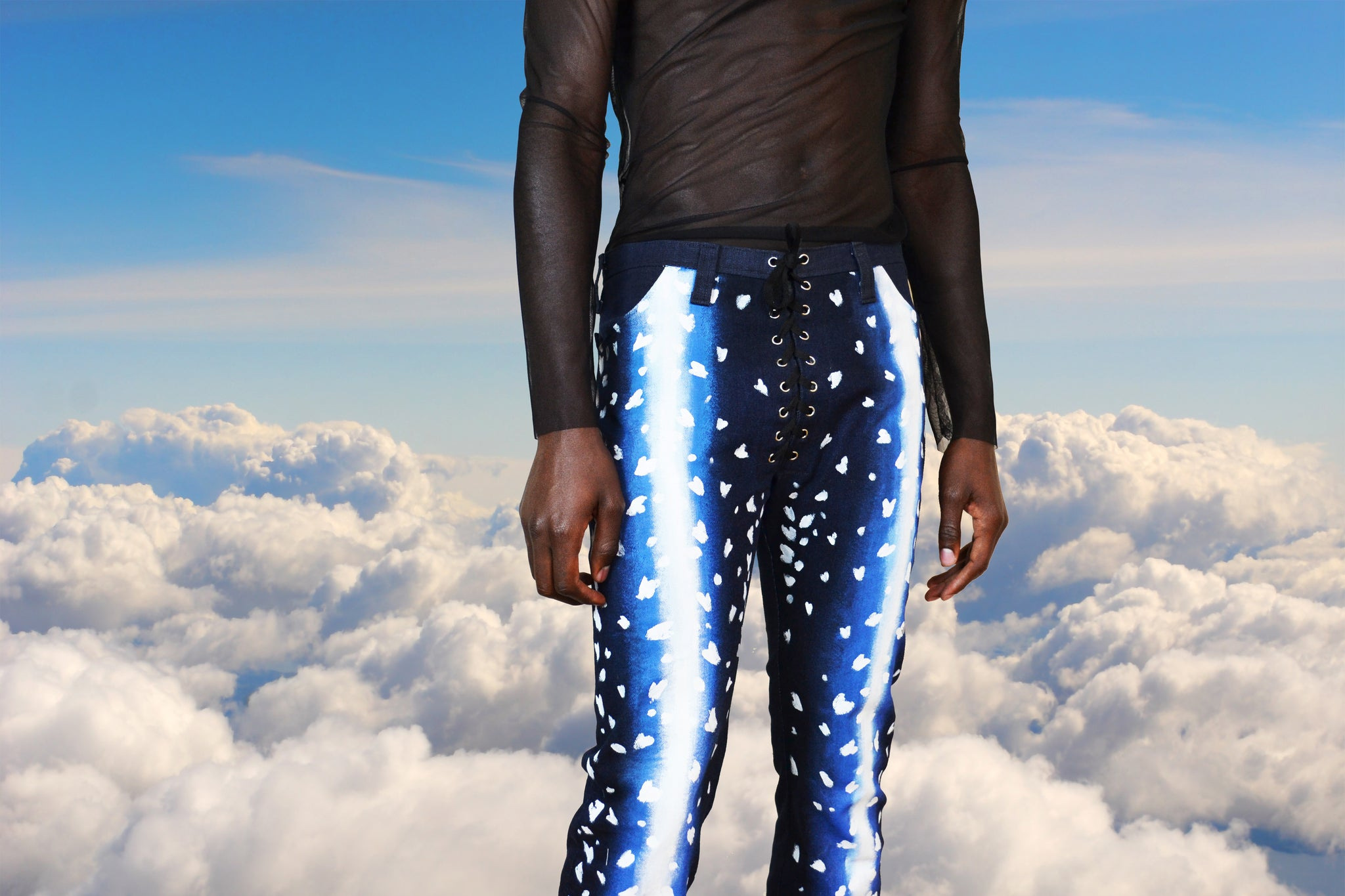 Hand-Painted Antelope Denim Pants
