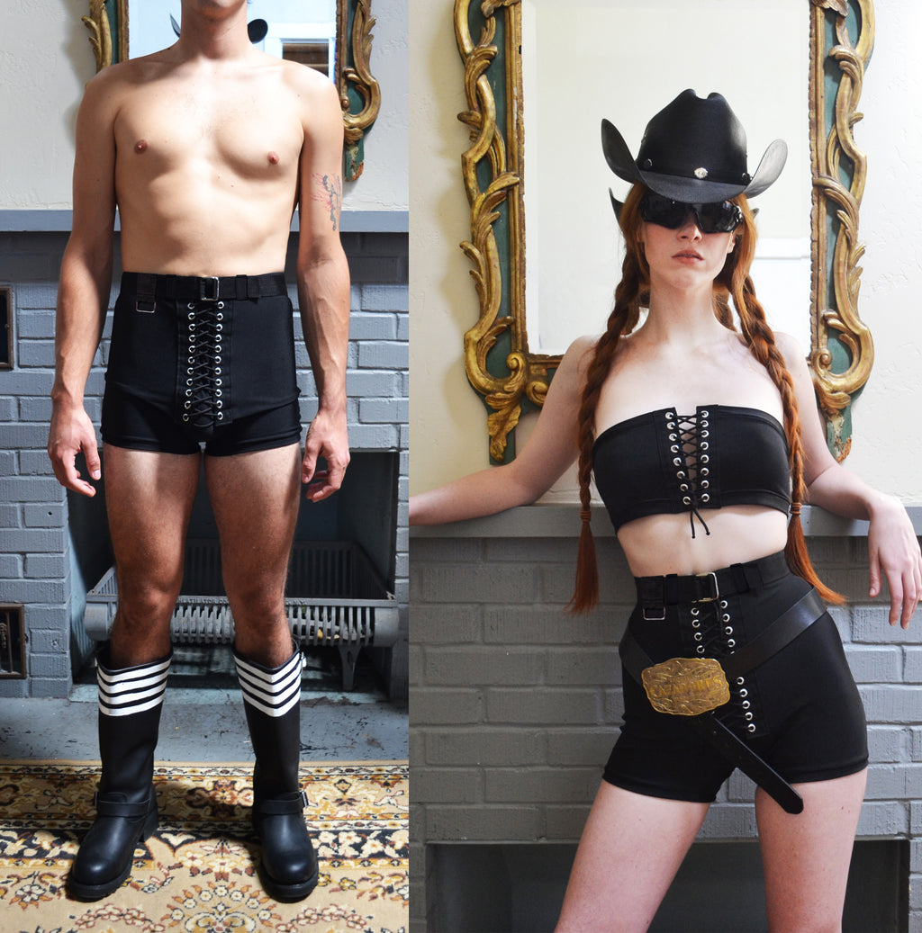 Unisex High Waisted Belted Swim Trunks