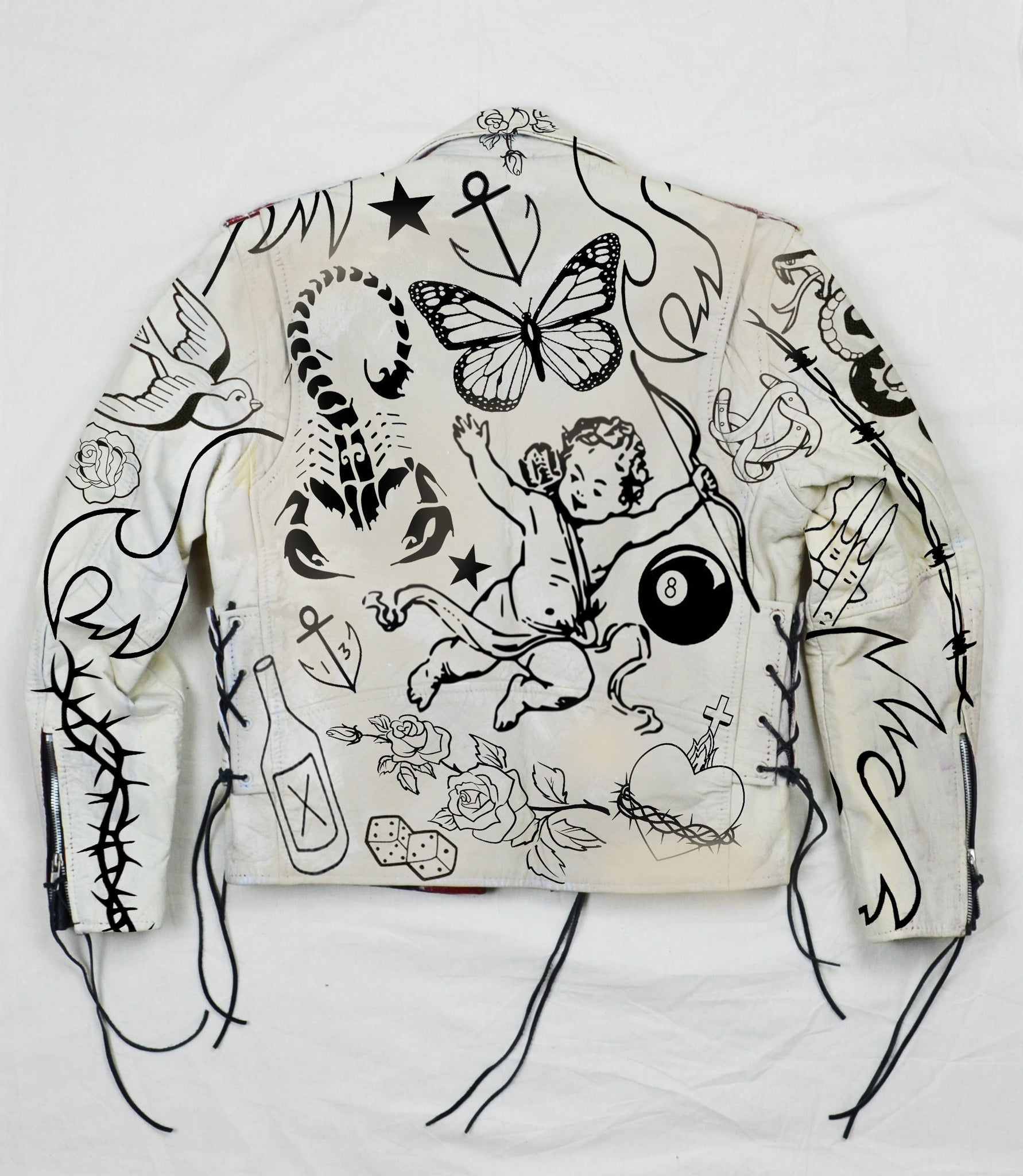 Painted Tattoo Flash Moto Jacket
