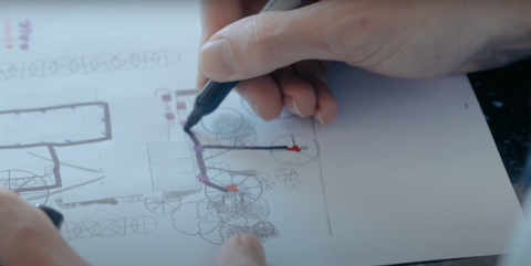 drawing cable on lighting plan