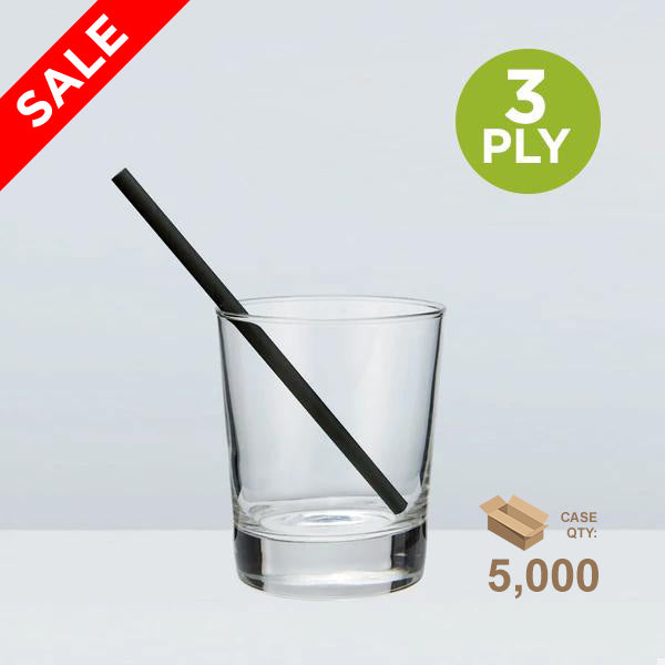 Short Paper Sipping Straw, Solid Black, 140mm 3-ply (5.5