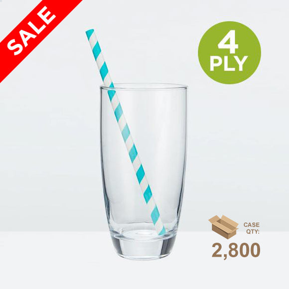 Tall Paper Straws, Striped Blue, 197mm (7.75