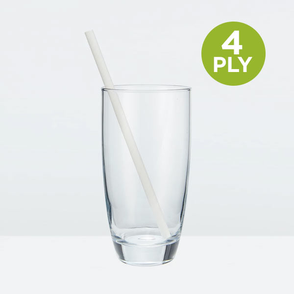 Tall Paper Straws, Solid White, 197mm (7.75