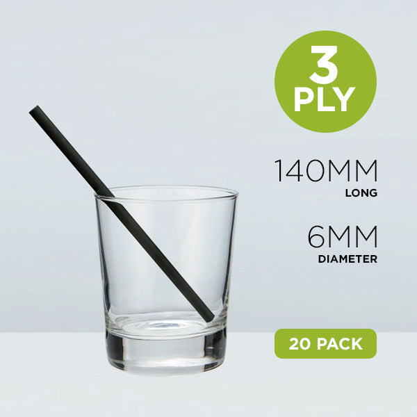 Sipping Paper Straws, 6mm, Solid Black, 14cm Home Pack