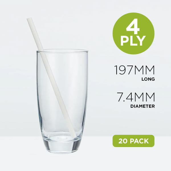 Tall Paper Straws, 7.4mm, Solid White, 19.7cm Home Pack