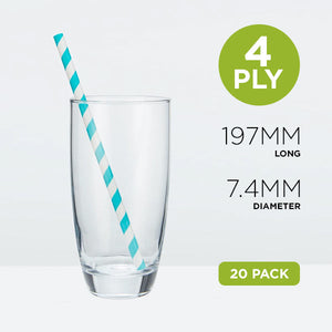 Tall Paper Straws, 7.4mm, Stripe Blue, 19.7cm Home Pack