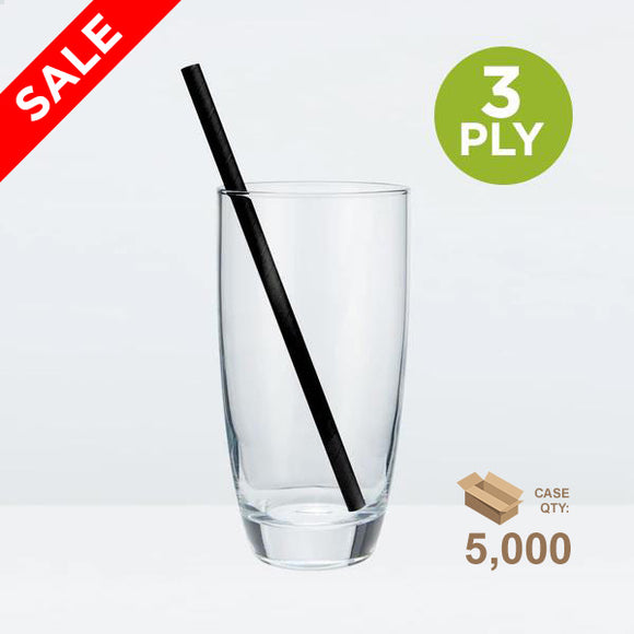 Tall Paper Straws, 6mm, Solid Black, 200mm 3-ply (7.87