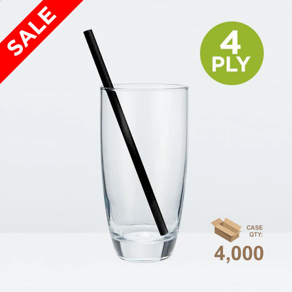 Tall Paper Straws, 8mm, Solid Black, 200mm 4-ply (7.87