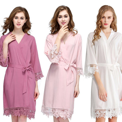 Lace Trim Cotton Robes
