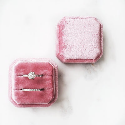 Velvet Ring Box - Cushion cut (Pink)