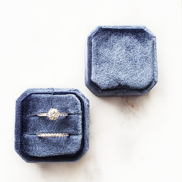 Velvet Ring Box - Cushion cut (Navy)