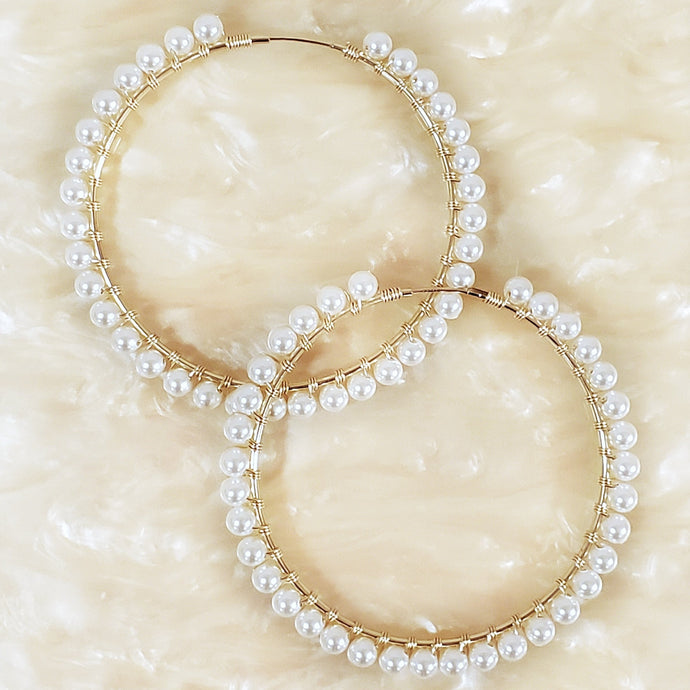 Gold filled and swarovski pearl hoops