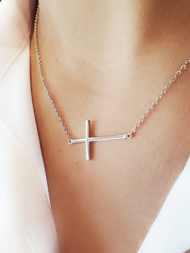 Sterling silver sideways cross