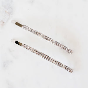 Silver rhinestone pin set