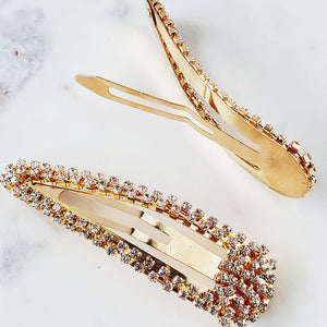 Gold rhinestone snap clips