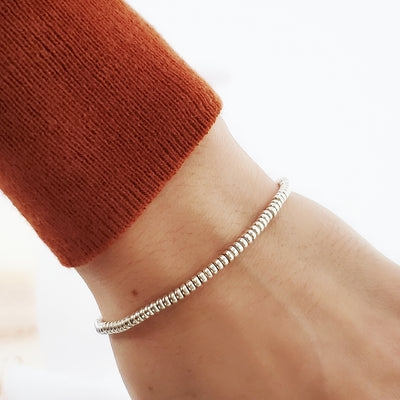 Sterling silver tube stretchy bracelet