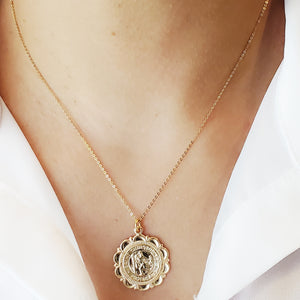 Gold filled St Christopher medallion necklace