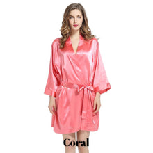 Coral solid satin robe