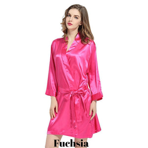 Fuchsia satin robe