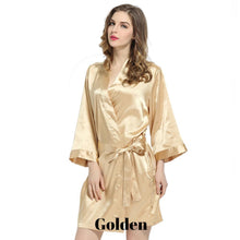 Golden solid satin robe