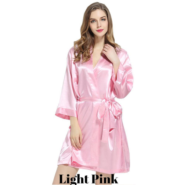 Light pink solid satin robe