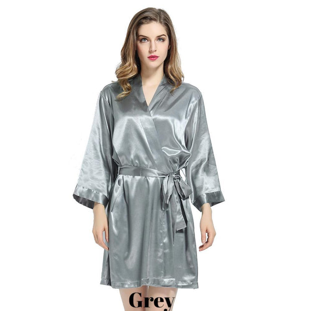 Grey solid satin robe