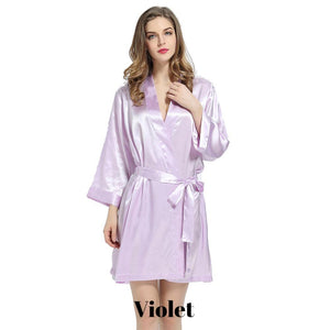 Violet solid satin robe