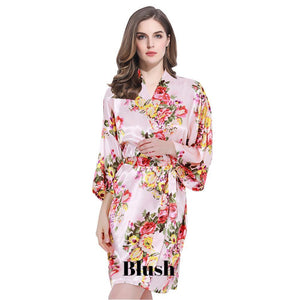 Blush satin floral robe