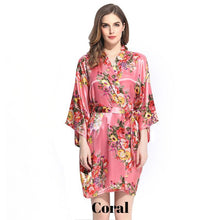 Coral satin floral robe