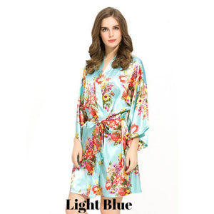 Light Blue satin floral robe