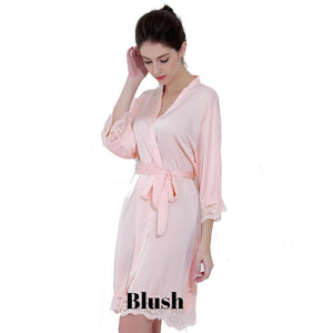 Blush satin with lace robe