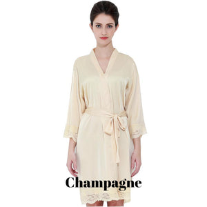 Champagne satin with lace robe